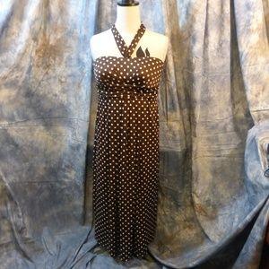 Brown w/ white polka dot halter dress 2X